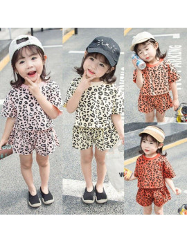 1-4Years Kid Baby Girls Summer Toddler Leopard Outfits Clothes T-shirt Top+Short Pant 2PCS Set