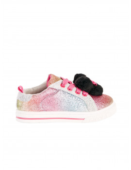 Disney Minnie Mouse Casual Rainbow Pom Sneaker (Toddler Girls)