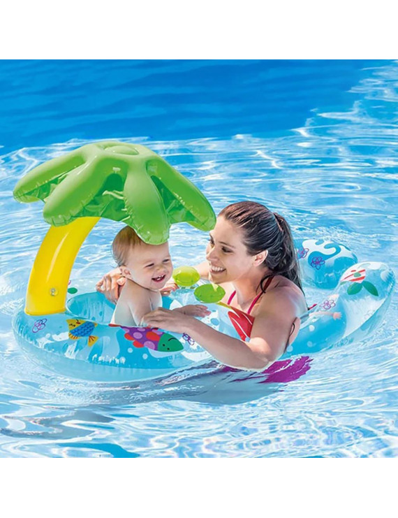 With Awning Mother And Child Baby Seat Parent-child Baby Child Swimming Ring