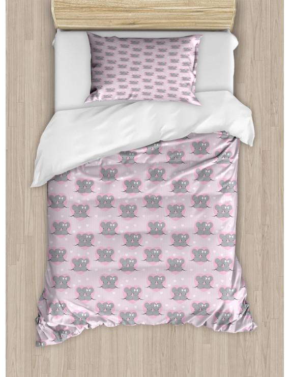 Pink and Grey Twin Size Duvet Cover Set, Little Mouse Characters with Hearts on Striped Backdrop for Toddler Nursery, Decorative 2 Piece Bedding Set with 1 Pillow Sham, Pink Grey, by Ambesonne