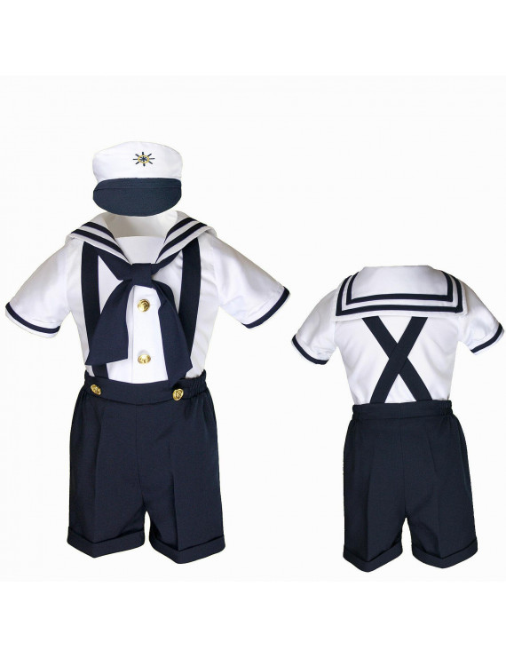 Infant Toddler Boy Navy White SAILOR Shorts Formal Suit Wedding Party Outfit S-4