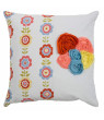 """Rizzy Home Decorative Poly Filled Throw Pillow Floral 18""""X18"""" White"""