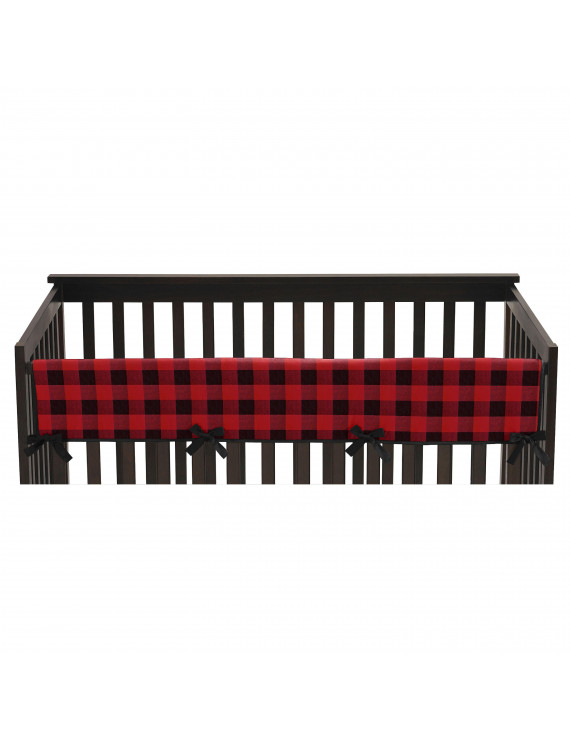 Woodland Buffalo Plaid Baby Boy Crib Rail Guard - Red and Black Rustic Country Lumberjack Long Front Teething Cover Protector Wrap by Sweet Jojo Designs