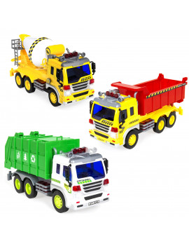 Best Choice Products 3-Pack 1/16 Scale Push-and-Go Friction Powered Garbage Truck, Cement Mixer, and Recycling Truck