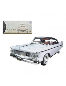 1 by 18 1961 Chrysler Imperial Interior Diecast Model Car, Crown White & Brown