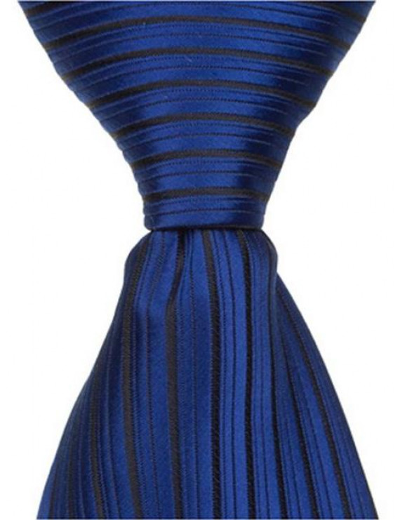Matching Tie Guy 2387 B5 - 9.5 in. Zipper Necktie - Blue With Small Black Stripes, 6 to 18 Month