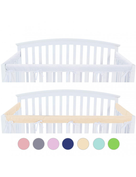 3 - Piece Crib Rail Cover Protector Safe Teething Guard Wrap for Standard Crib Rails, Fit Side and Front Rails, Yellow/White, Reversible, Safe and Secure Crib Rail Cover