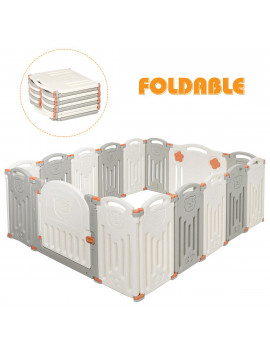 Costway Foldable Baby Playpen 16 Panel Activity Center Safety Play Yard