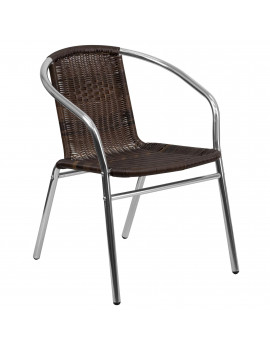 "29"" Brown and Gray Contemporary Outdoor Furniture Patio Stackable Chair"