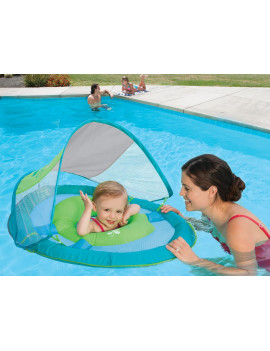 "36"" Aqua Blue and Green Swimming Pool Baby Spring Float with Sun Canopy"
