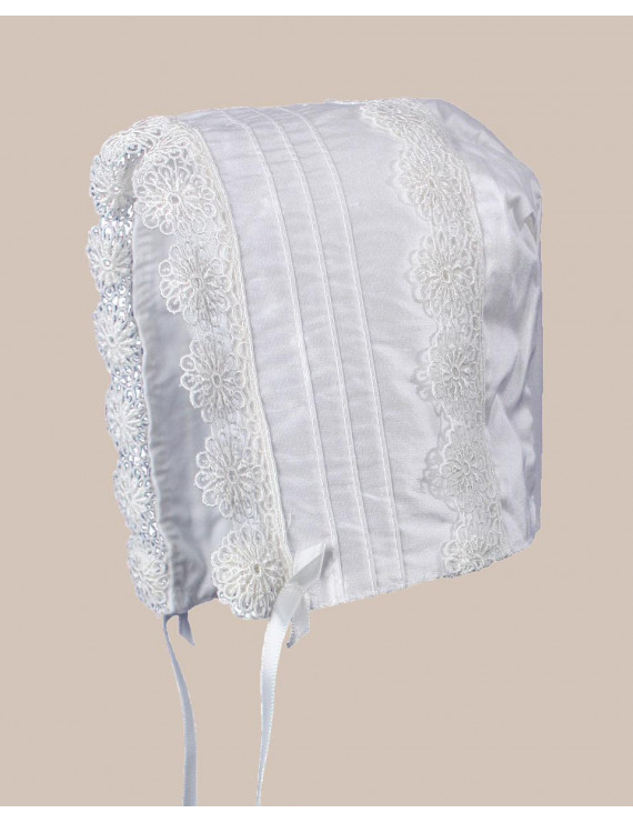 Baby Girls White Silk Christening Baptism Hat with Pin Tucking and Lace Trim (Baby)