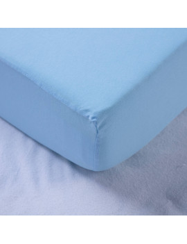 100% Cotton Jersey Crib Fitted Sheet - Sea blue