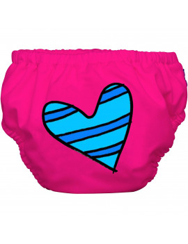 Charlie Banana Extraordinary Training Pants, Blue Petit Coeur on Hot Pink
