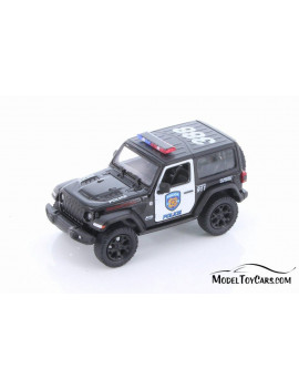 2018 Jeep Wrangler Rubicon Police Hard Top, Black and White - Kinsmart 5412DP - 1/34 scale Diecast Model Toy Car (Brand New but NO BOX)