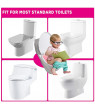 Folding Large Non Slip Silicone Pads Travel Portable Reusable Toilet Potty Training Seat Covers Liners with Carry Bag, Non-toxic Material, Cute Design Pink