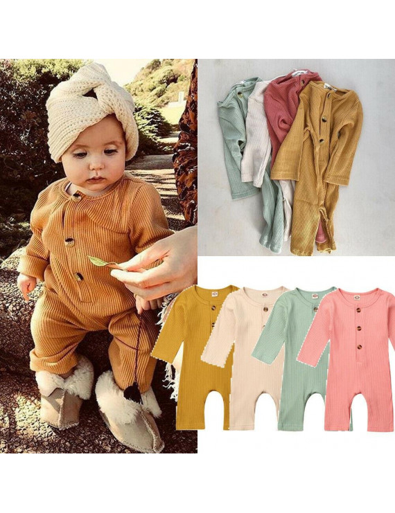 Newborn Baby Boy Girl Long Sleeve Rompers Jumpsuit Solid Color Bodysuit Clothing 1Pcs Outfits 0-18M