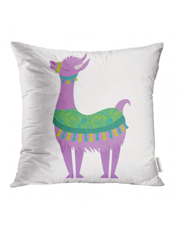 YWOTA Colorful America Alpaca Violet American Animal Baby Cartoon Character Child Chile Pillow Cases Cushion Cover 18x18 inch