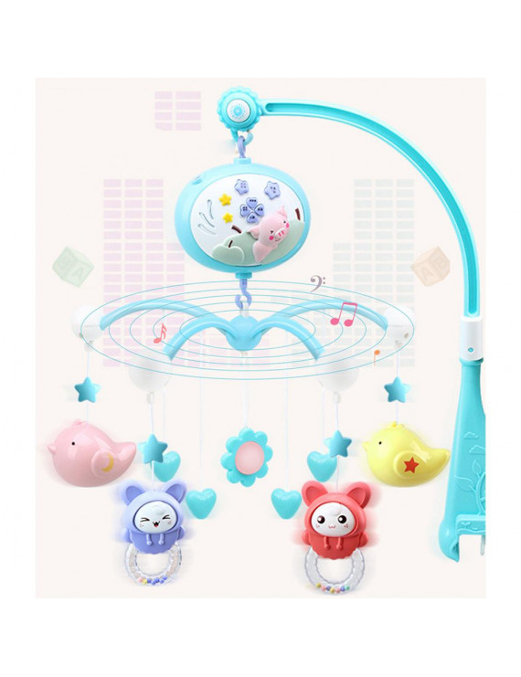 Musical Baby Crib Mobile Toy Toddler Bed Bell With Animal Rattles Projection Cartoon Early Learning Toys (Blue Pig)