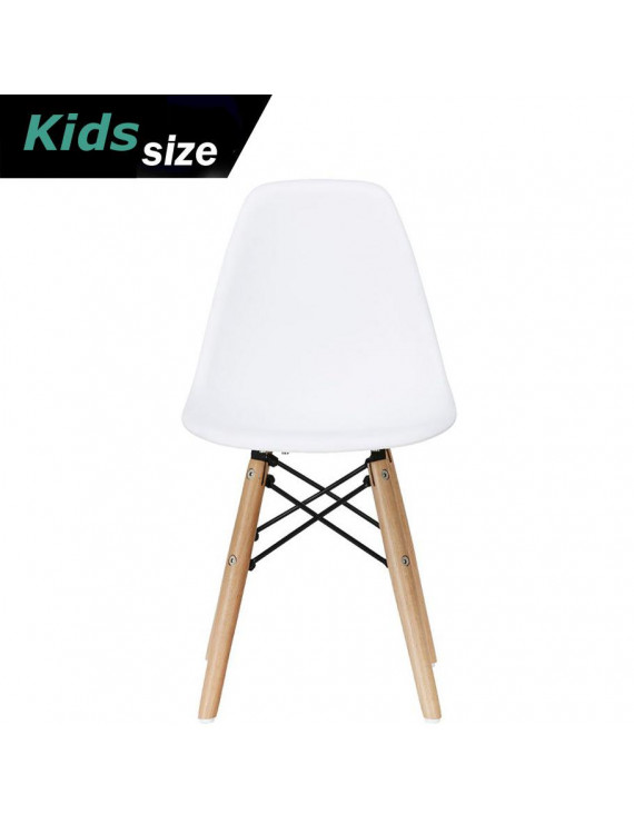 2xhome - White - Kids Size Plastic Side Chair White Seat Natural Wood Wooden Legs Eiffel Childrens Room Chairs No Arm Arms Armless Molded Plastic Seat Dowel Leg