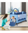 Costway Travel Playard with Bassinet, Blue
