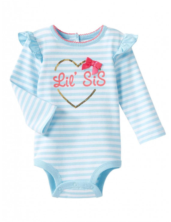 Infant Girls Blue Stripe Lis Sis Sequin Heart Bodysuit Sister Creeper Shirt