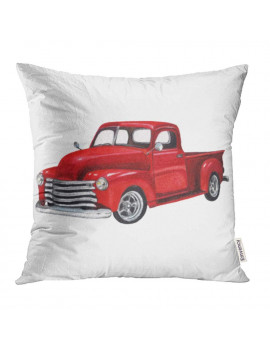 ARHOME Red Old Watercolor Vintage Toy Model Truck White Design Pickup Car Classic Retro Van Pillowcase Cushion Cover 18x18 inch