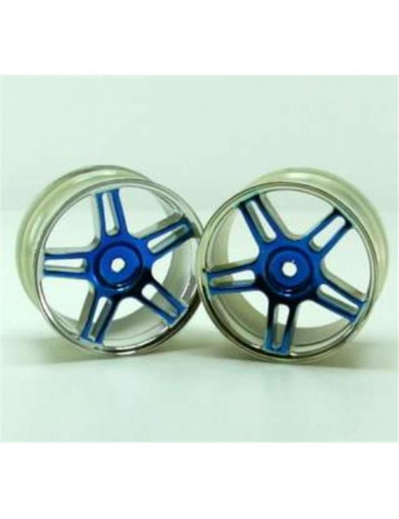 Redcat Racing 02228pb Chrome 5 Spoke Split Spoke Blue Anodized Wheels - For All Redcat Racing Vehicles