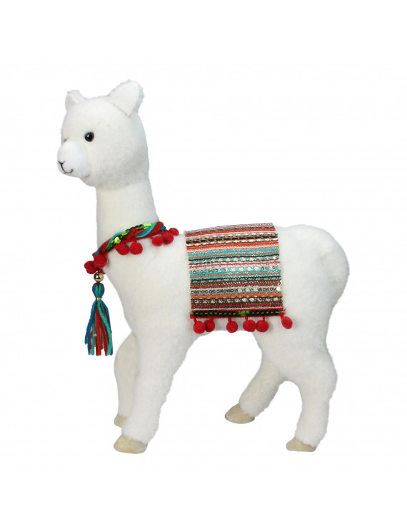 "14"" White Plush Bohemian Standing Llama Christmas Figure with Pom Poms"