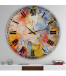 Designart 'Blue And Yellow Color Whirls' Metal Wall Clock
