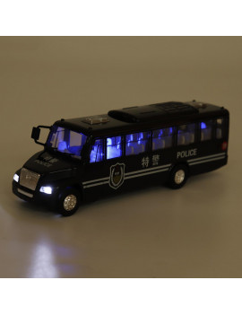 1:48 Car Mini Toy School Bus /Police Bus Lights Music Battery Operated Children Toy
