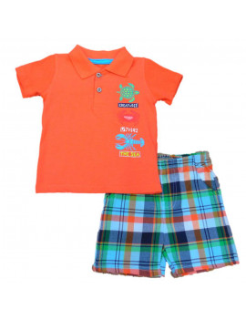 Kids Headquarters Infant Boys Orange Sea Creatures Polo T-Shirt Plaid Shorts 12m