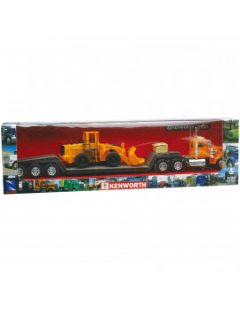 1:32 Scale Die-Cast Kenworth W900 Lowboy Tractor Trailer with Construction Tractor
