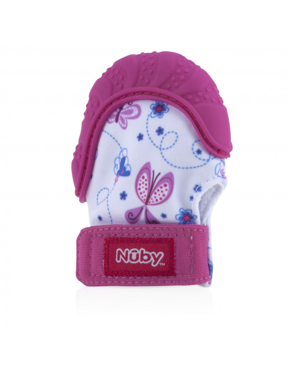Nuby Teething Mitten with Hygienic Travel Bag, Pink Butterfly