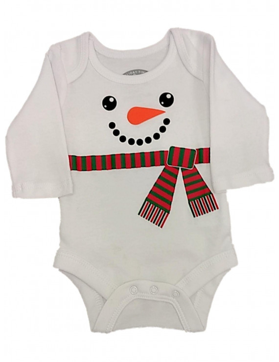 Infant Girls White Snowman Christmas Creeper Bodysuit Newborn