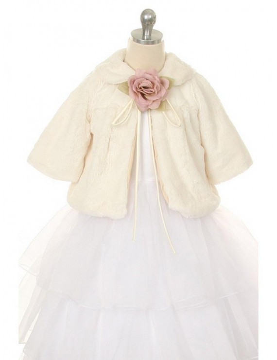 Ivory Faux Fur Special Occasion Half Coat Baby Girls 18M