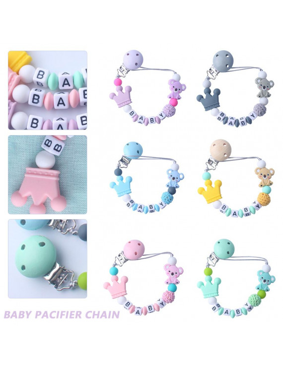 ODOMY Baby Silicone Pacifier Chain Clip Holder Cute Animals Coloful