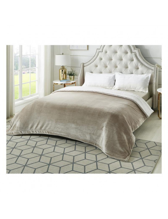 """Posh Pascal 60""""x80"""" Reversible Flannel Heathered Sherpa Blanket in Taupe"""
