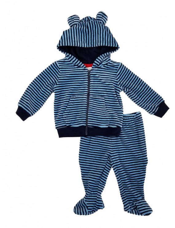Infant Boys 2-Piece Blue Striped Terry Hoodie & Footed Pants Set