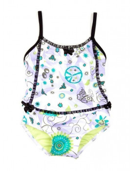 Azul Baby Girls Lilac Black Floral Sassy Does It One Piece Swimsuit
