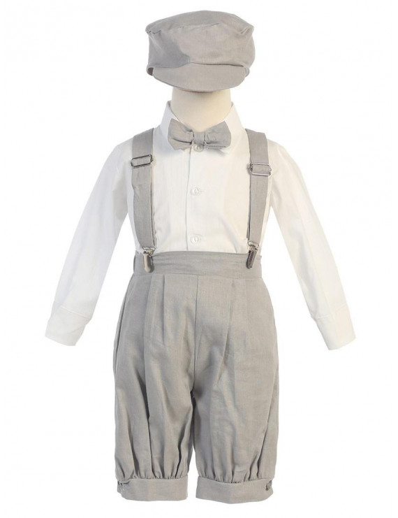 Baby Boys Light Gray Suspenders Short Pants Hat Outfit Set 6-12M