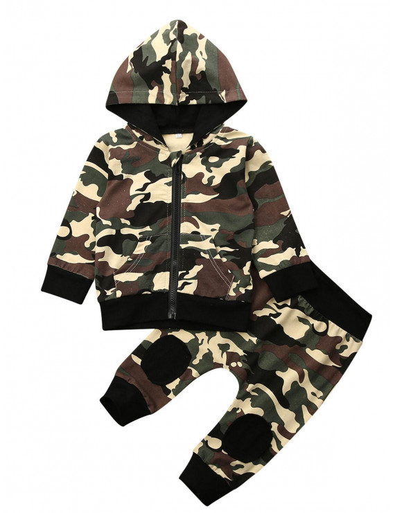 Newborn Infant Camouflage Sets Baby Boys Camo Clothes Hooded Tops Pants Outfits Set Tracksuit 0-24M
