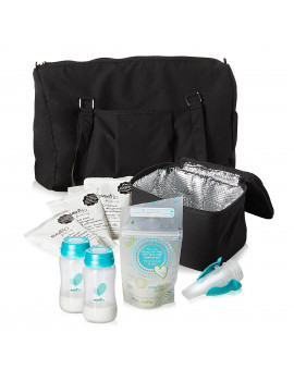 Evenflo Breast Pump Accessories, Milk Storage Bags, Collection Bottles, Adapters, Ice Packs and Cooler