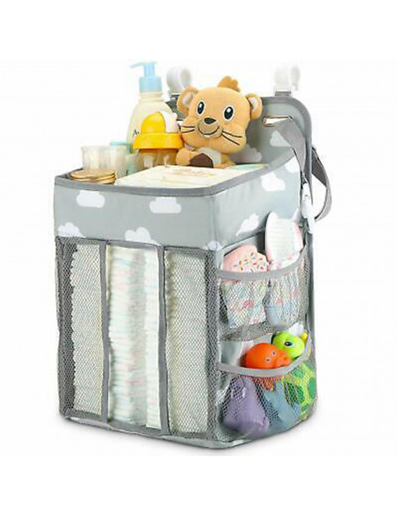 Fitnate Nursery Baby Caddy  Diaper Organizer Bags, Hanging Baby Shower Gifts for Infant Newborn Store Diaper Lotion Wet Wipes , Grey & White
