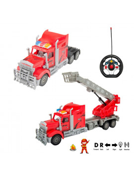 1:15 Scale Remote Control Rescue Fire Truck Big Rig with Ladder and Basket, Lights and Sounds, Great RC Toys for Boys Girls