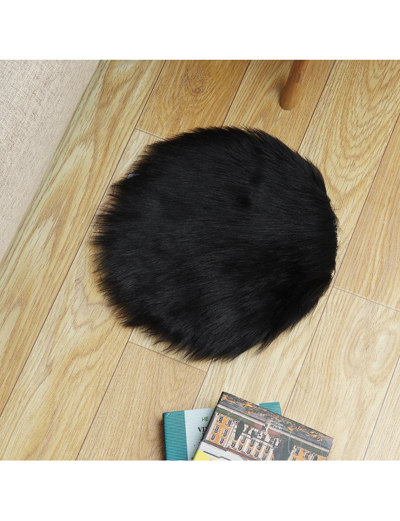 90 / 30 CM Diameter Shaggy Plush Soft Fluffy Faux Sheepskin Wool Cover Floor Mat Carpet Rug Decor