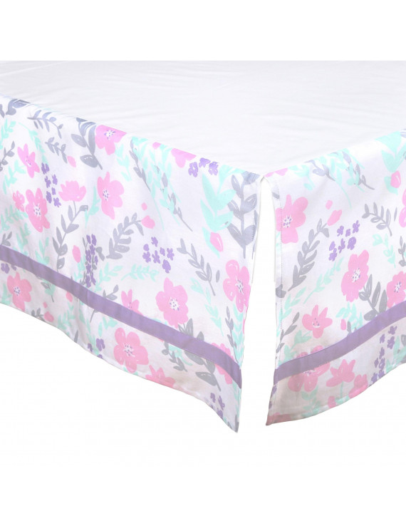 The Peanut Shell Tailored Crib Skirt - Pink, Mint Green, Purple and Grey Floral - 100% Cotton Sateen 14 Inch Drop, Standard Crib