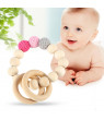 Ejoyous Handmade Natural Wooden Baby Teether Bracelet Beads Teething Ring Toy Gift, Wooden Teeth Biting Toy