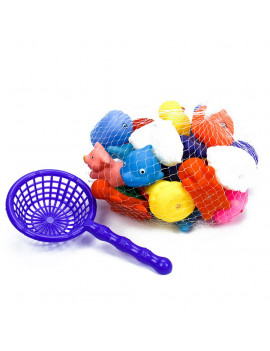 20Pcs Safety Fun  Mini Animals  Squeeze Squeakers and Squirters Rubber Bathtub Toy with Spoon Net During Bath Time Suit for Children/Baby
