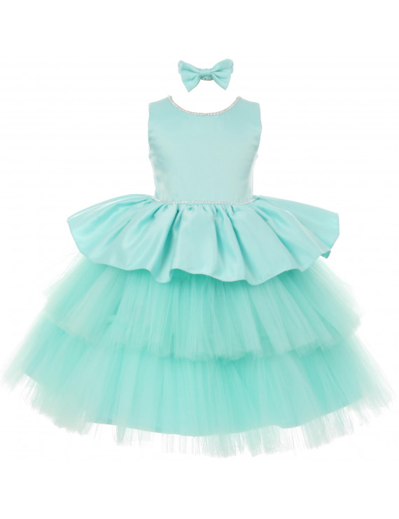 BNY Little Girls Rhinestones Satin Tulle Baby Infant Toddler Flower Girl Dress Aqua 6M TR 029 BNY Corner