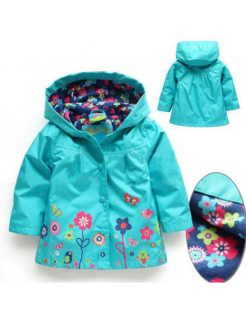 Cute Kids Children Girls New Flowers Hooded Waterproof Windproof Raincoat Jacket